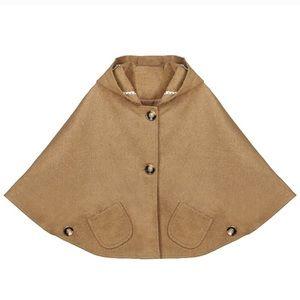 Boutique Faux-Wool Button Poncho Cape